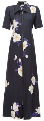 Raey Zip-front Floral-print Silk Dress - Womens - Navy Print