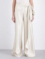 Oscar de la Renta Wide-leg metallic silk-blend trousers