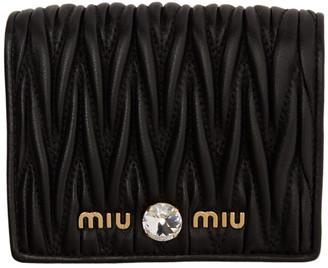 Miu Miu Black Quilted Crystal Wallet