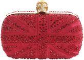 Britannia Cherry Suede Crystal Skull Box Clutch