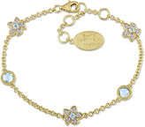 Laura Ashley 1 3/5 CT TW Topaz and Diamond Yellow-Plated Silver Flower Link Bracelet