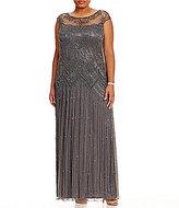 Pisarro Nights Plus Illusion Beaded Gown