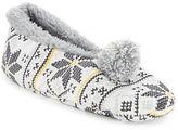 Kensie Faux Fur Lined Pom Slippers