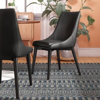 Wade Logan Minton Upholstered Dining Chair Color: Black