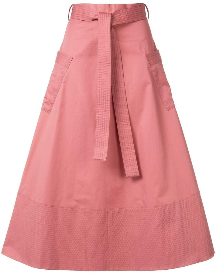 Co belted a-line midi skirt