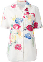 Celine floral print short sleeve shirt with pocket - women - Linen/Flax/Viscose - 36