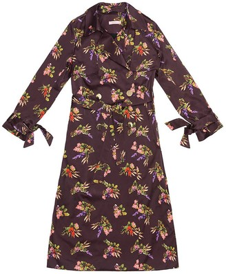 Tomcsanyi Geza Lame Flower Print Trench Coat