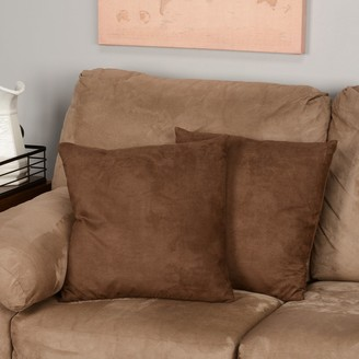 Cozy Quarters Chocolate Microsuede Feather and Down Filled Throw Pillows