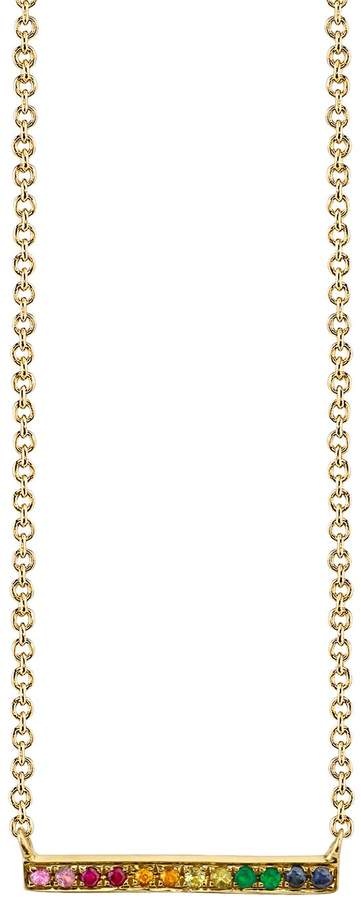 Sydney Evan Yellow Gold Rainbow Bar Necklace