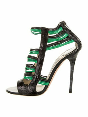 Jimmy Choo Embossed Leather T-Strap Sandals Green