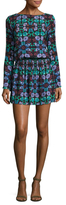 Nicole Miller Crepe Floral Print Mini Dress