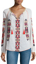 Calypso St. Barth Inabu Embroidered Long-Sleeve Top, Candle White