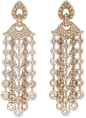 Marina B 18K Yellow Gold & Titanium Pampilles Diamond, Champagne Diamond & Smoky Quartz Chandelier Earrings