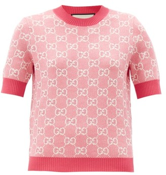 Gucci GG-jacquard Wool-blend Sweater - Pink White