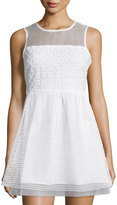 Romeo & Juliet Couture Mesh Sleeveless Fit-&-Flare Dress, White
