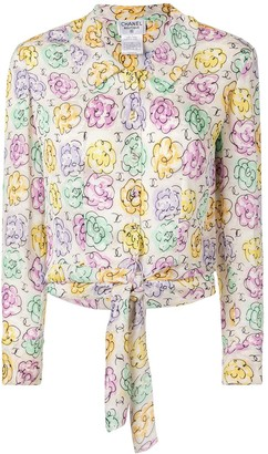 Chanel Pre-Owned Flower Pattern Long Sleeve Silk Shirts