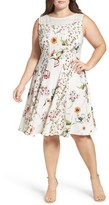 Gabby Skye Plus Size Women's Floral Print Fit & Flare Dress