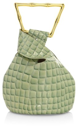 Cult Gaia Mini Astraea Croc-Embossed Leather Tote