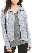 Calvin Klein Marled Knit Zip Front Hoodie Jacket