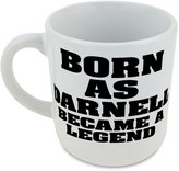 Fotomax Round mug with Born as DARNELL, became a legend
