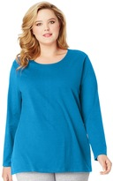 Just My Size Plus Size Long Sleeve Relaxed Crew Tee