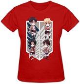 Vivianus Women's Short Sleeve T-shirts - Attack On Titan Japan Anime M Red