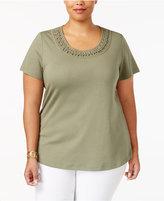 Karen Scott Plus Size Cotton Braided-Trim Top, Only at Macy's