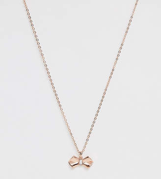 Ted Baker rose gold plated bow detail necklace