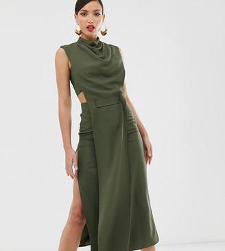 Asos Tall DESIGN Tall minimal midi dress in crepe with tab detail-Green