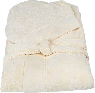 Roberto Cavalli Jerapah Italian Hooded Bathrobe - Size XXL, Ivory