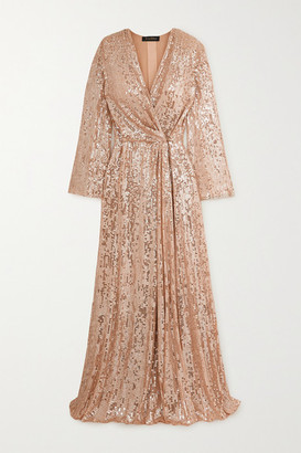 Jenny Packham Scarlett Sequined Chiffon Wrap Gown - Blush