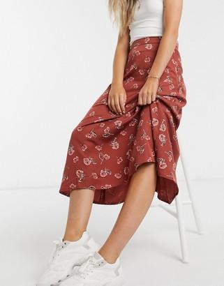 People Tree midi skirt in rose print