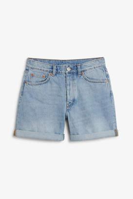 Monki High waisted denim shorts