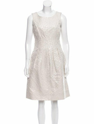 Lela Rose Brocade Knee-Length Dress Beige