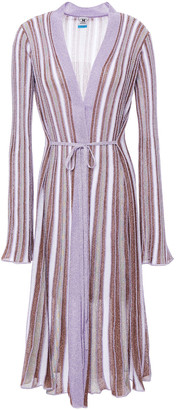 M Missoni Pleated Metallic Striped Crochet-knit Cardigan