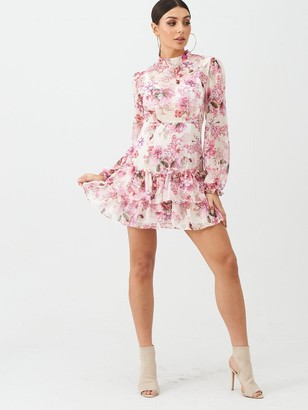 boohoo Floral Ruffle Day Dress - Pink