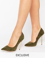 Office Shop Suede Gold Heeled Shoes