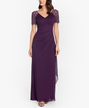 Xscape Evenings Beaded-Sleeve Gown