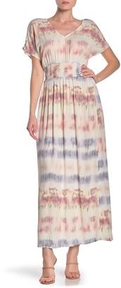 BeBop Placement Tie Dye Smock Waist Maxi Dress