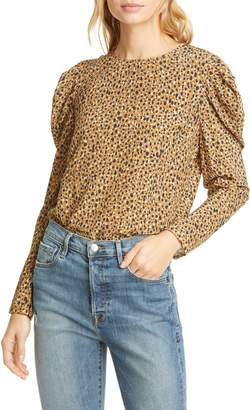 Dolan Zelda Animal Print Long Sleeve Blouse