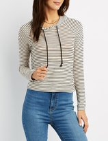 Charlotte Russe Striped Drawstring Hoodie