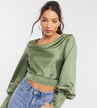 Asos Tall ASOS DESIGN Tall long sleeve cowl neck top with cuff detail in khaki