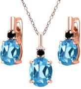 Gem Stone King 6.67 Ct Swiss Blue Topaz Black Diamond 18K Rose Gold Plated Silver Pendant Earrings Set