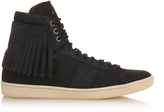 Saint Laurent Fringed high-top suede trainers