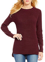 RD Style Crew Neck Raglan Sleeve Hi-Low Hem Solid Tunic Sweater