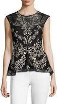 BCBGMAXAZRIA Women's Embroidered Peplum Top