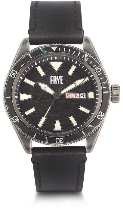 Frye Men's Campus Distressed Dial Black Leather Strap Watch, 44mm