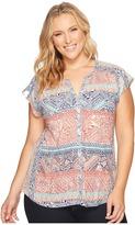 Lucky Brand Plus Size Rena Border Print Top Women's Clothing