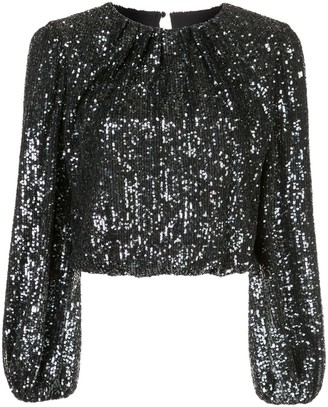 Alice + Olivia Avila sequin crop top