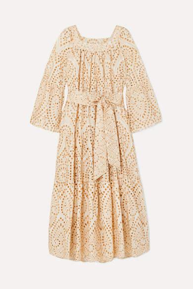 Lisa Marie Fernandez Broderie Anglaise Cotton Maxi Dress - Neutral